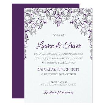 elegant invitation   kate (plum & gray)
