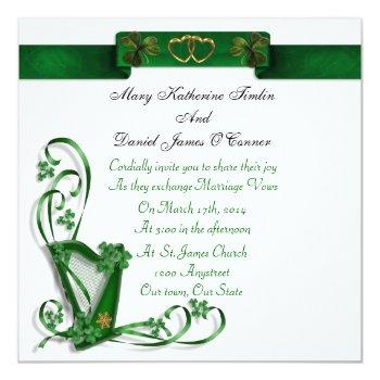 elegant irish wedding invitation harp