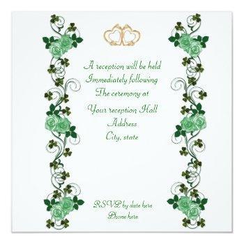 Small Elegant Irish Wedding Invitation Harp Back View