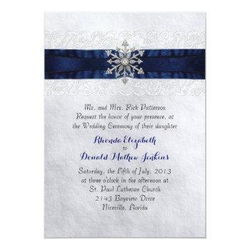elegant jeweled snowflake wedding invitation