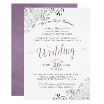 elegant lavender on white wedding livestream invitation