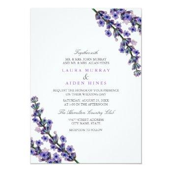 Small Elegant Lavender Wedding Invitation Front View