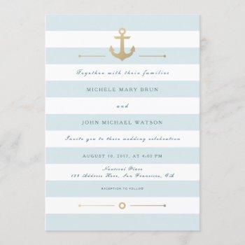 elegant light aqua nautical wedding invitation