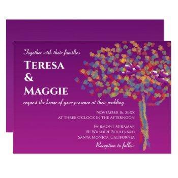 elegant lovebirds cassis purple wedding invitation