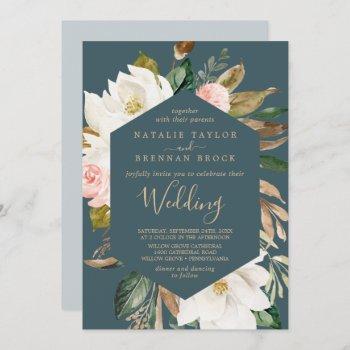 elegant magnolia | teal and white wedding invitation