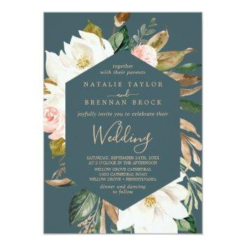 Small Elegant Magnolia   Teal And White Wedding Invitation Front View