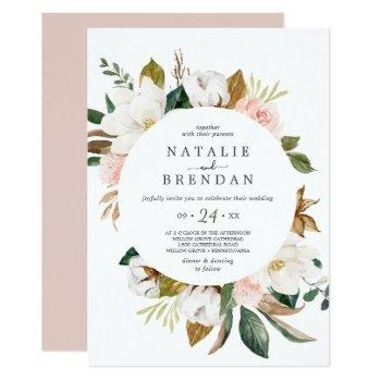elegant magnolia | white and blush casual wedding invitation