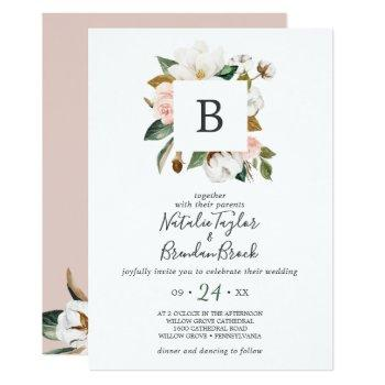 elegant magnolia white & blush all in one wedding invitation