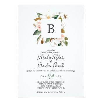 Small Elegant Magnolia White & Blush All In One Wedding Invitation Front View