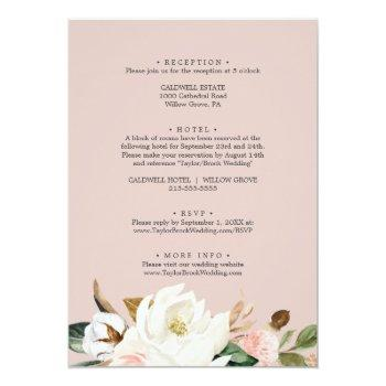 Small Elegant Magnolia White & Blush All In One Wedding Invitation Back View