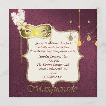 elegant maroon & gold masquerade party invitation