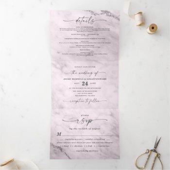 elegant mauve purple metallic marble wedding tri-fold invitation