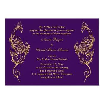 elegant mehndi peacock wedding invitation - purple
