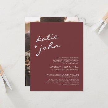 elegant minimalist cinnamon downsized wedding  invitation