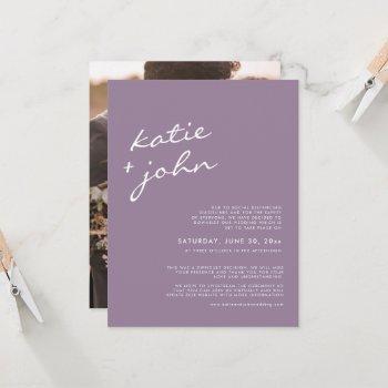 elegant minimalist mauve purple downsized wedding  invitation