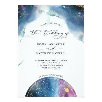 Small Elegant, Modern Celestial Constellations Wedding Invitation Front View