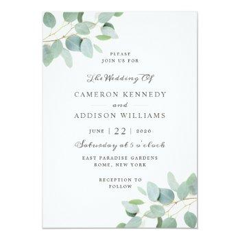 Small Elegant Modern Eucalyptus Wedding Invitation Front View
