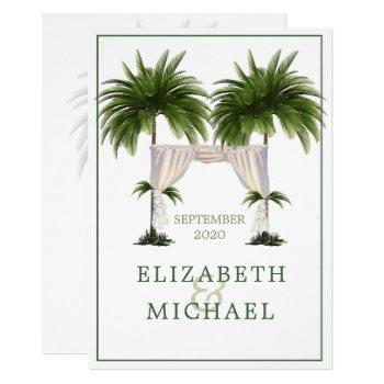 elegant modern  palm jewish wedding chuppah invitation