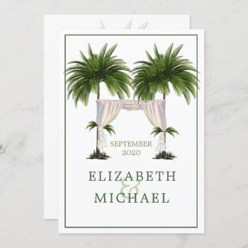 elegant modern  palm jewish wedding chuppah invitation
