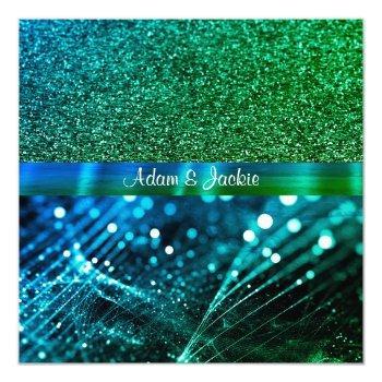 elegant & modern wedding split royal blue green invitation