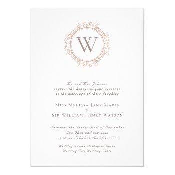 elegant monogram classic wedding invitation