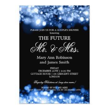 elegant mr mrs couples shower blue sparkle lights invitation