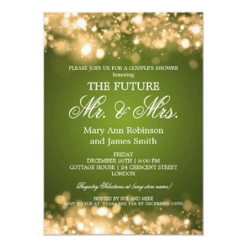 elegant mr mrs couples shower gold sparkle lights invitation