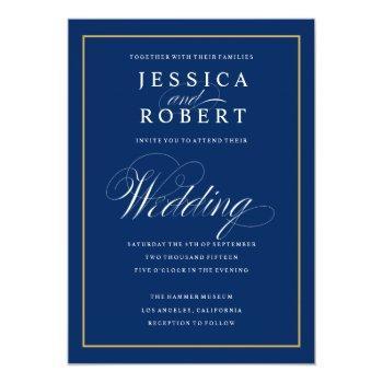 elegant navy and gold border wedding invitation