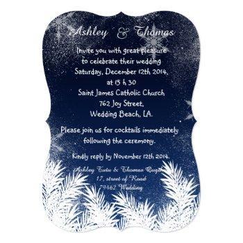elegant navy blue branch snowflake winter wedding invitation