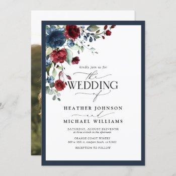 elegant navy blue burgundy floral watercolor photo invitation