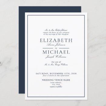 elegant navy blue classic script wedding invitation