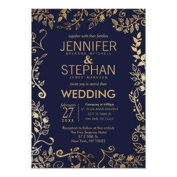 elegant navy blue gold floral wedding invites