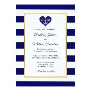 elegant navy blue gold heart nautical wedding invitation