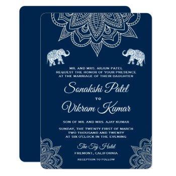 elegant navy blue henna indian wedding invitation