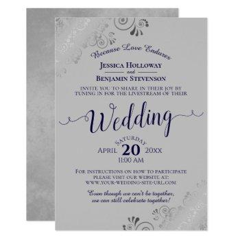 elegant navy blue on gray wedding livestream invitation