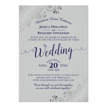 Small Elegant Navy Blue On Gray Wedding Livestream Invitation Front View