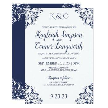 elegant navy blue wedding invitations | vintage