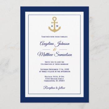 elegant navy blue white gold nautical wedding invitation
