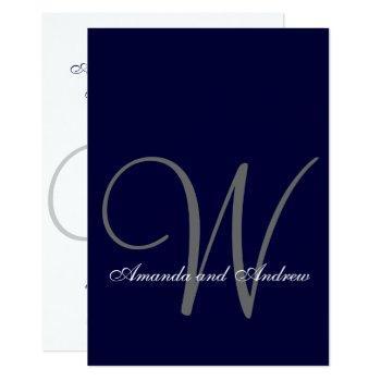 elegant navy blue white wedding invitation initial
