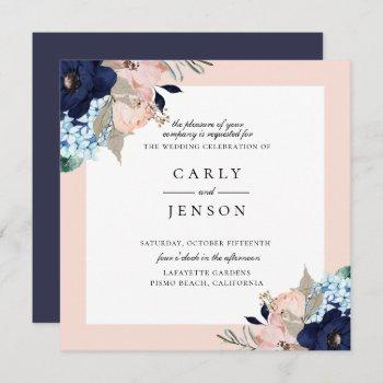 elegant navy + blush floral wedding invitation