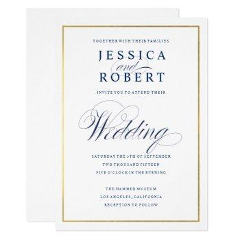 elegant navy calligraphy wedding faux gold border invitation