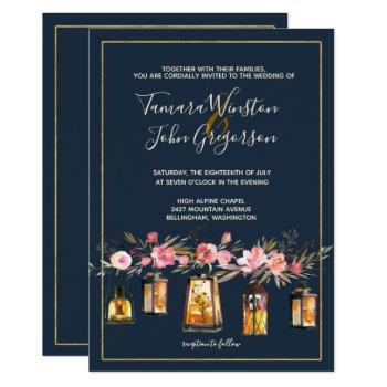 elegant navy coral floral gold lights wedding invitation