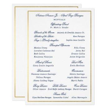 elegant navy faux gold border custom entourage invitation