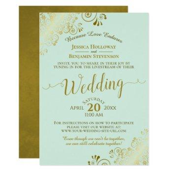 elegant neo mint green & gold wedding livestream invitation