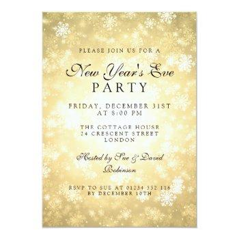 elegant new years eve party gold winter invitation