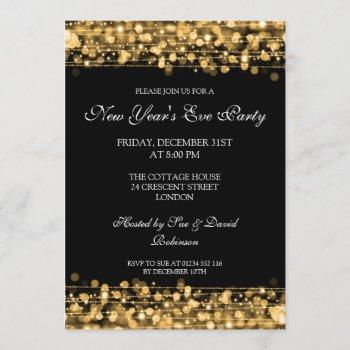 elegant new years eve party sparkles gold invitation