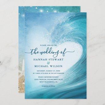 elegant ocean wave tropical beach wedding invitation