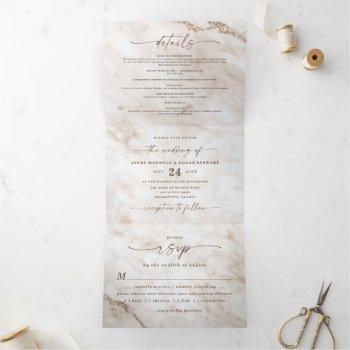 elegant off white beige marble with foil wedding tri-fold invitation