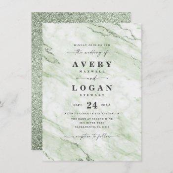 elegant olive green marble & glitter wedding invitation