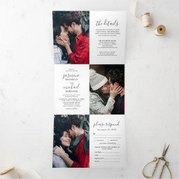 elegant photo collage wedding all in one tri-fold invitation